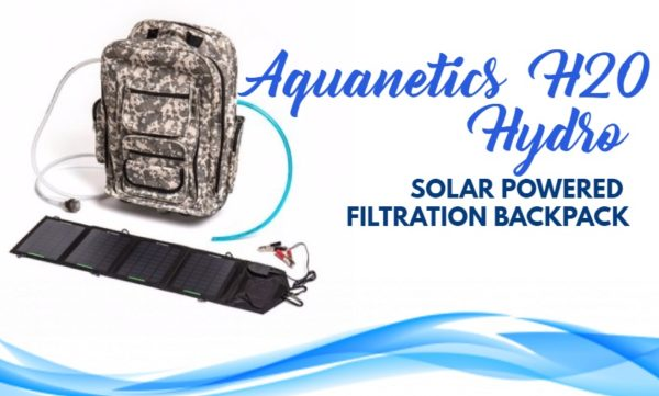 Solar powered filtration backpack reviews: Aquanetics H20 HYDRO